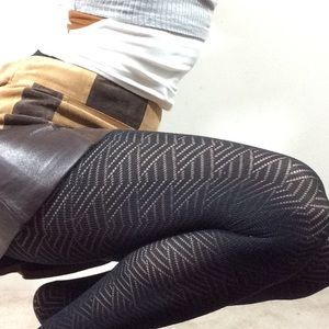 Art Deco Zig Zag Print Black Tights